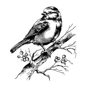 Crafty Individuals - Unmounted Rubber Stamp - 505 - Bluebird with Branch and Berries by Maria Kitano