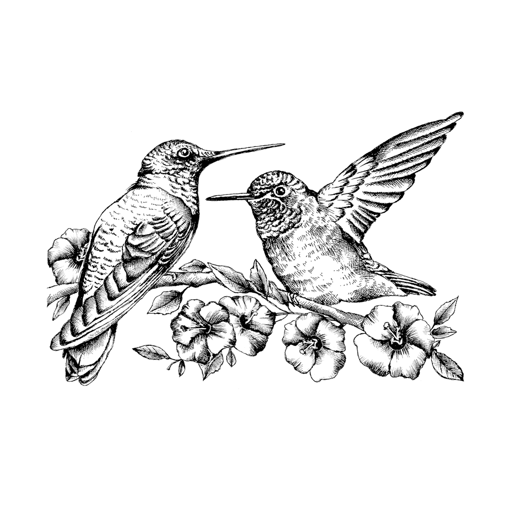 Crafty Individuals - Unmounted Rubber Stamp - 509 - Hummingbird Amongst Blossoms