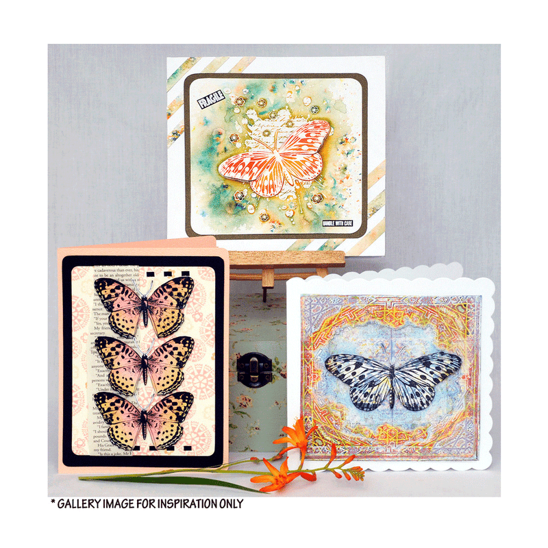 Crafty Individuals - Unmounted Rubber Stamp - 520 - Trio of Inky Butterflies