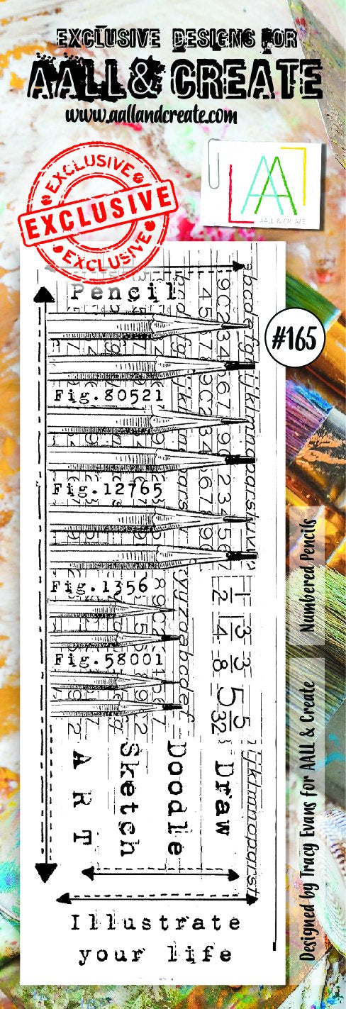 AALL & Create - Clear Border Stamp - #165 - Numbered Pencils