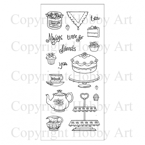 Hobby Art Stamps - Clear Polymer Stamp Set - Time for Tea