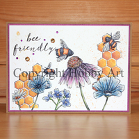 Hobby Art Stamps - Clear Polymer Stamp Set - A5 - Bee Friendly