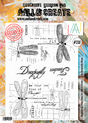 AALL & Create - Clear Stamp Set - #230 - A4 - On Dragonfly Wings