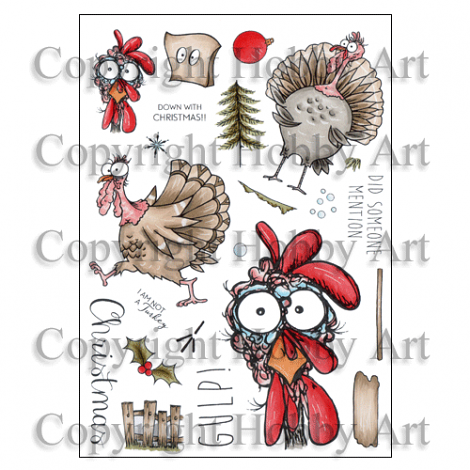 Hobby Art Stamps - Clear Polymer Stamp Set - A5 - Daryl the Quirky Turkey