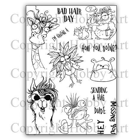 Hobby Art Stamps - Clear Polymer Stamp Set - A5 - Crazy Critters