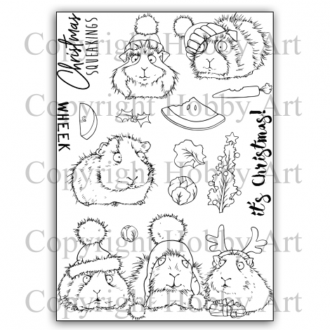 Hobby Art Stamps - Clear Polymer Stamp Set - A5 - Christmas Squeakings