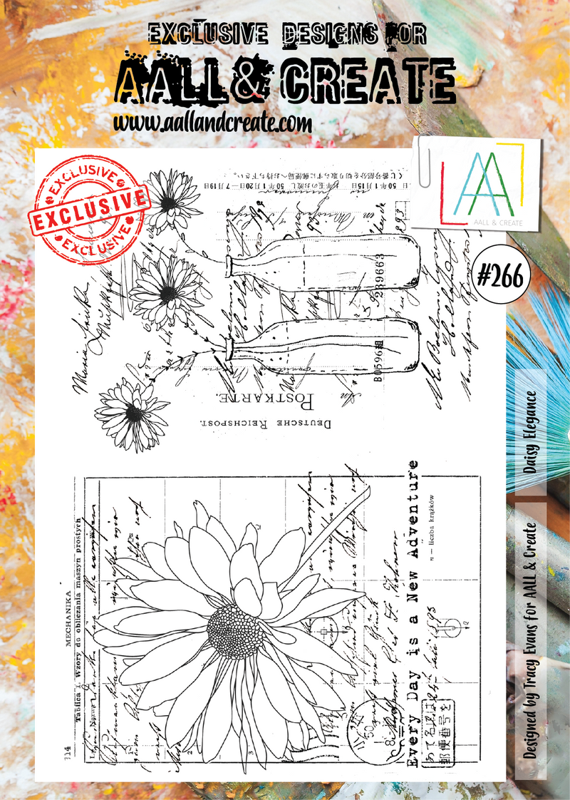 AALL & Create - Clear Stamp Set - #266 - A4 - Daisy Elegance - Tracy Evans