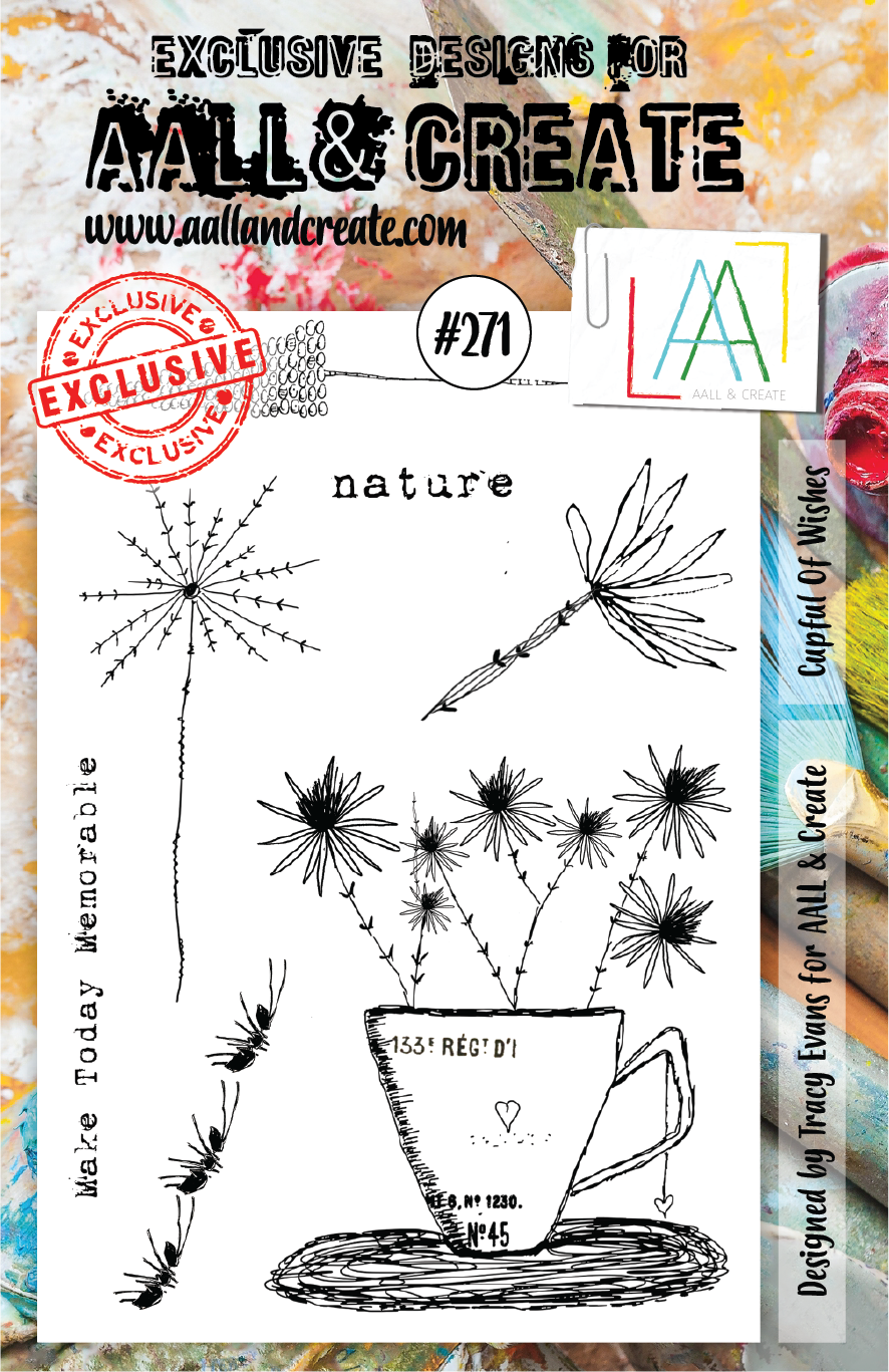 AALL & Create - Clear Stamp Set - A5 - #271 - Cupful of Wishes - Tracy Evans