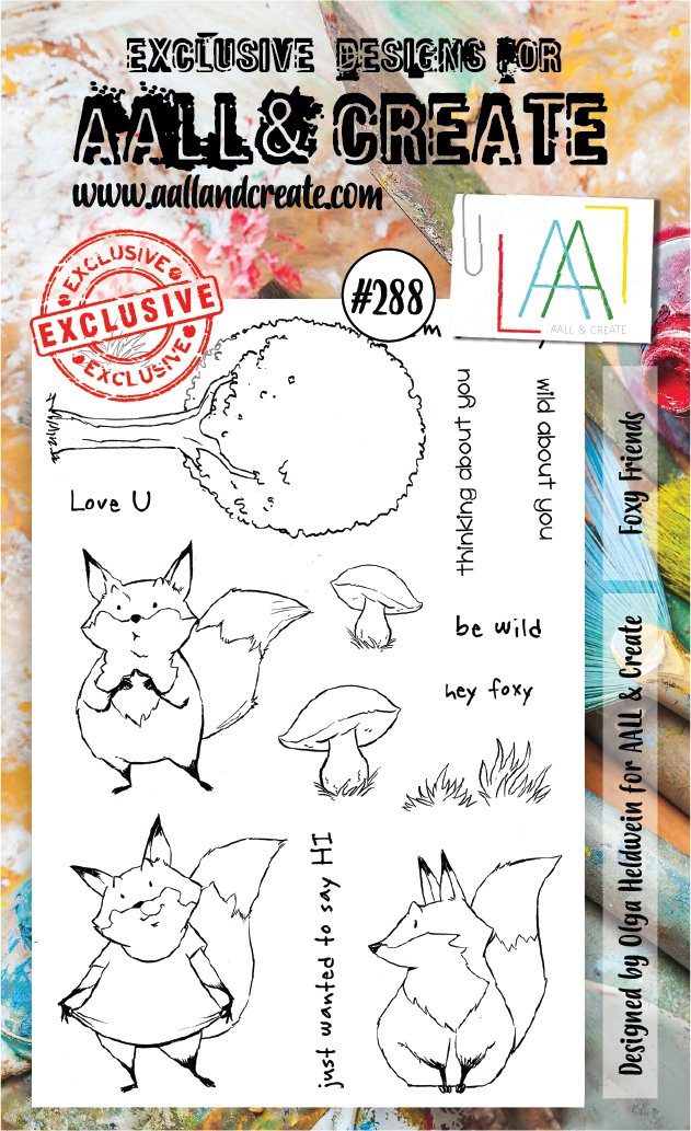 AALL & Create - Clear Stamp Set - #288 - A6 - Foxy Friends - Olga Heldwein