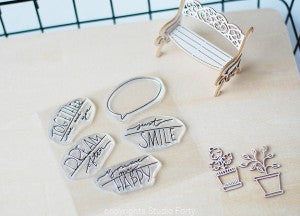 Studio Forty - Clear Polymer Stamp Set - Speech Bubbles