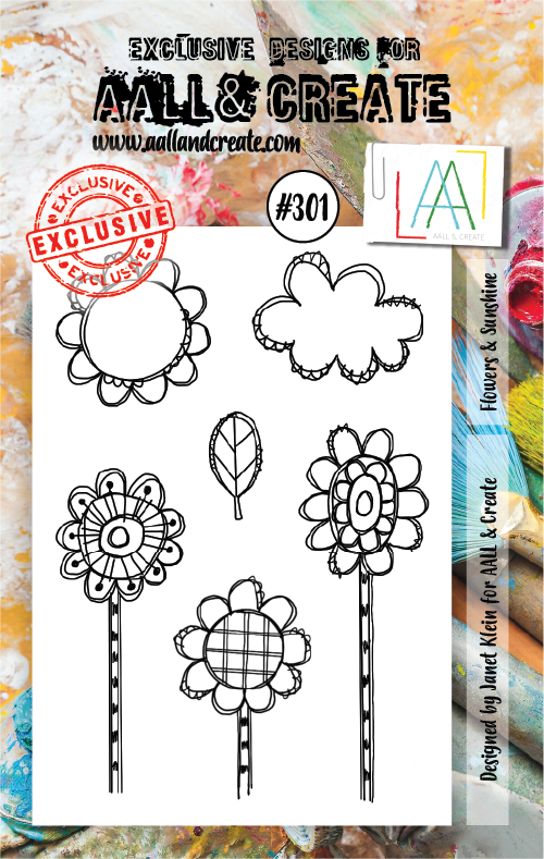AALL & Create - Clear Stamp Set - #301 - A7 - Flowers & Sunshine - Janet Klein