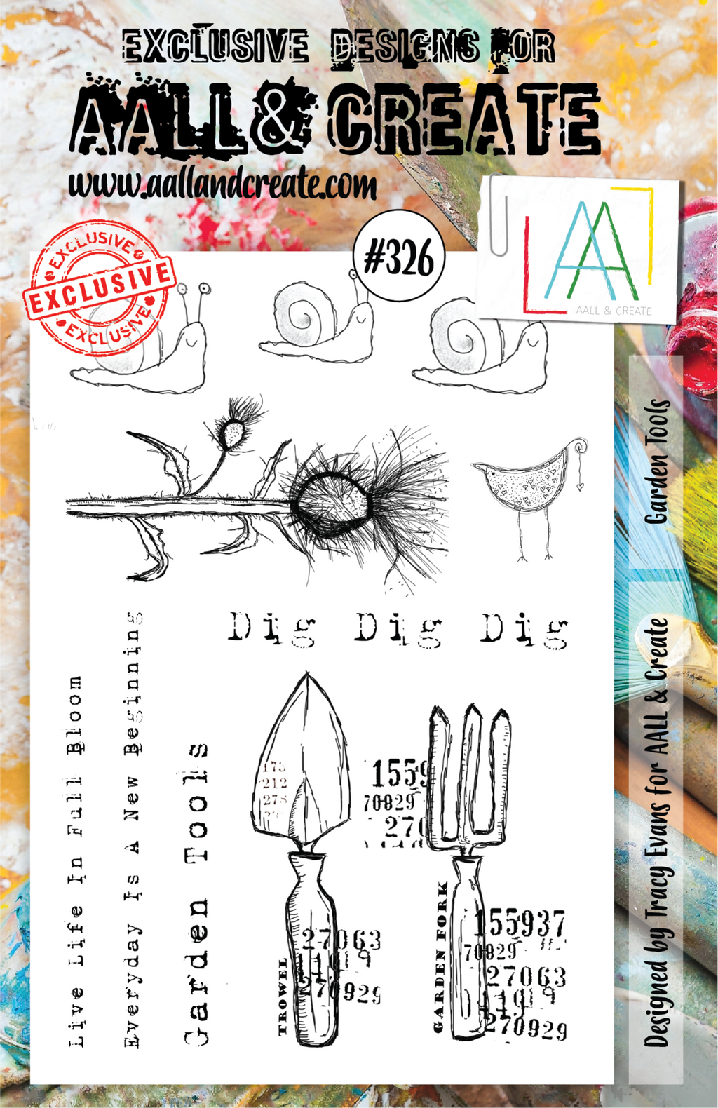 AALL & Create - Clear Stamp Set - A5 - #326 - Garden Tools - Tracy Evans