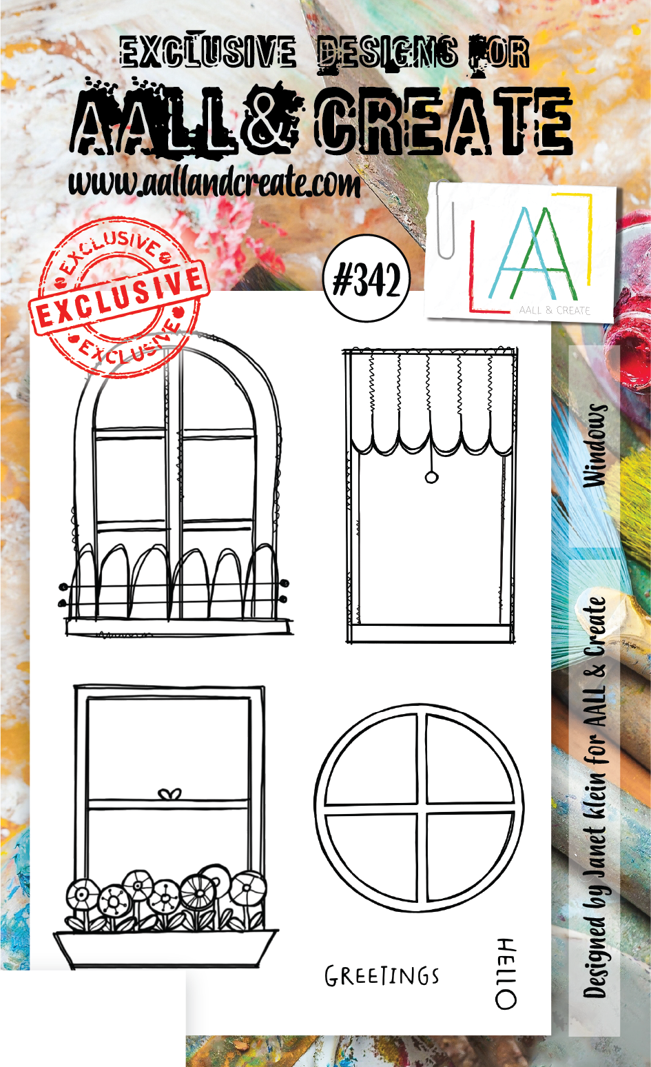 AALL & Create - Clear Stamp Set - #342 - A6 - Windows - Janet Klein