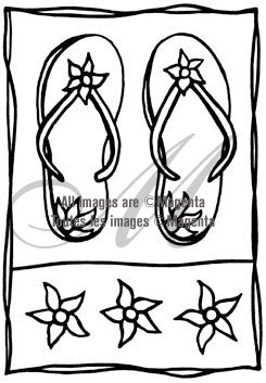 Magenta - Summer Sandals - Flip Flops - Rubber Cling Stamp