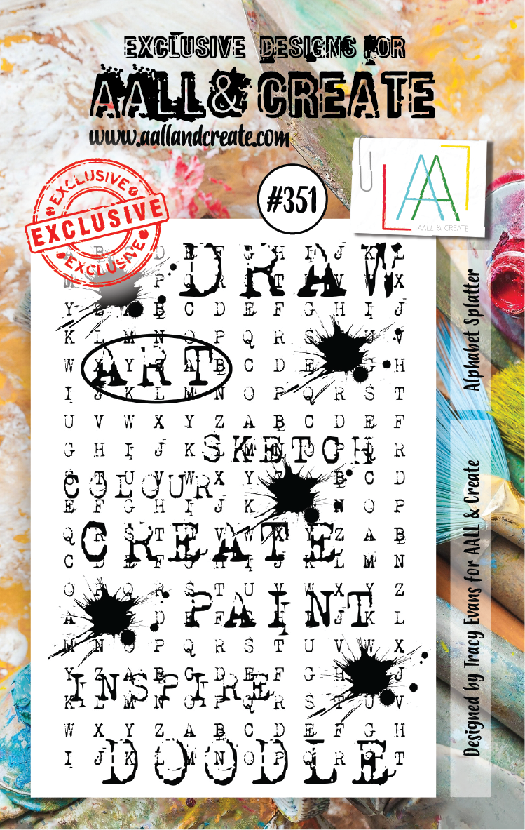 AALL & Create - Clear Stamp Set - #351 - A7 - Alphabet Splatter - Tracy Evans