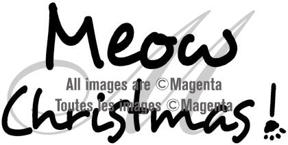 Magenta - Meow Christmas - Rubber Cling Stamp