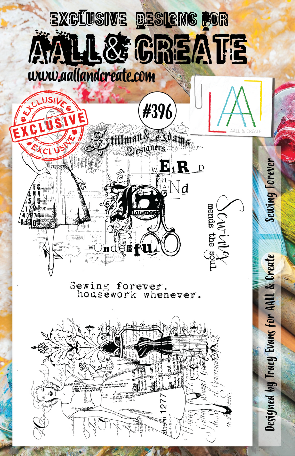 AALL & Create - Clear Stamp Set - A5 - #396 - Sewing Forever - Tracy Evans