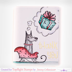Katzelkraft - Christmas Holiday Accessories & More - Unmounted Red Rubber Stamp Set