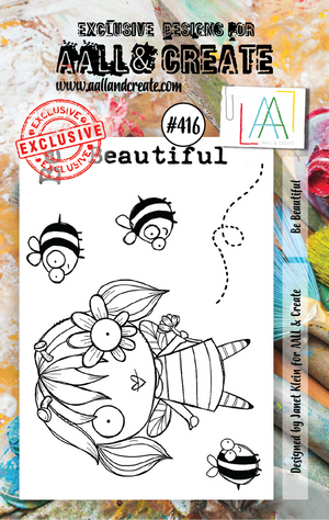 AALL & Create - Clear Stamp Set - #416 - A7 - Be Beautiful - Janet Klein