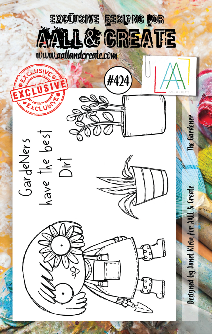 AALL & Create - Clear Stamp Set - #424 - A7 - The Gardener - Janet Klein
