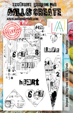 AALL & Create - Clear Stamp Set - A5 - #453 - Heart Grunge - Tracy Evans