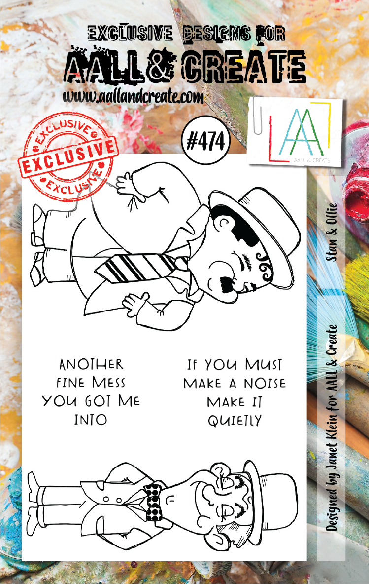AALL & Create - Clear Stamp Set - #474 - A7 - Stan & Ollie - Janet Klein