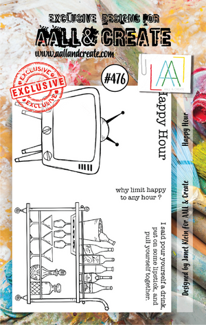AALL & Create - Clear Stamp Set - #476 - A7 - Happy Hour - Janet Klein