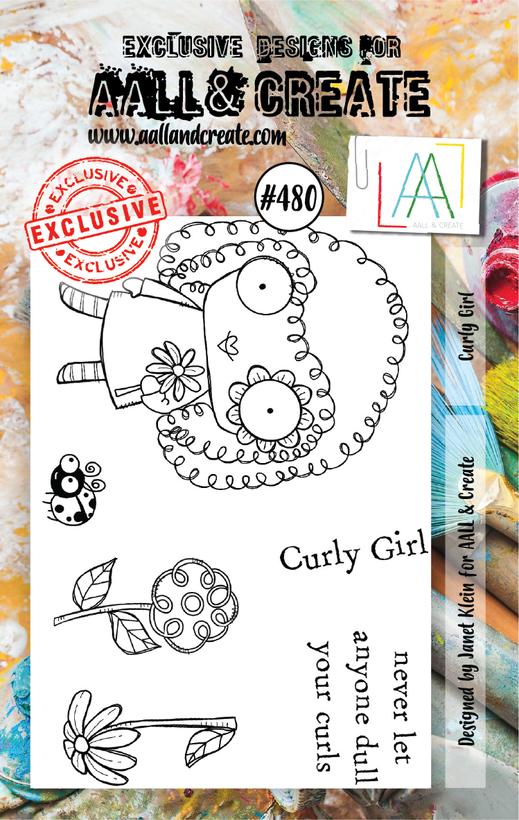 AALL & Create - Clear Stamp Set - #480 - A7 - Curly Girl - Janet Klein