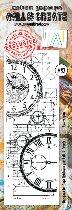 AALL & Create - Clear Border Stamp Set - #82 - Time Capsule - Clocks & Gears