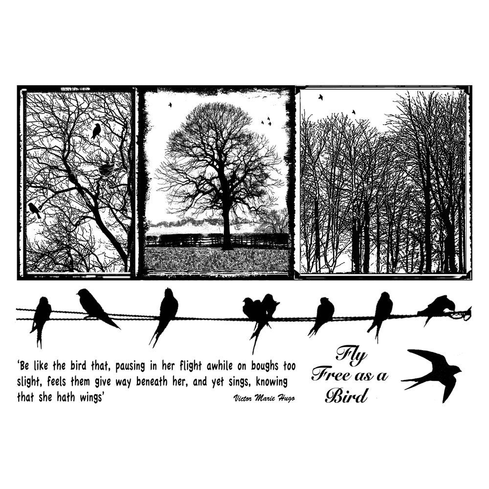 Crafty Individuals - Unmounted Rubber Stamp - 287 - Birds on a Wire ...