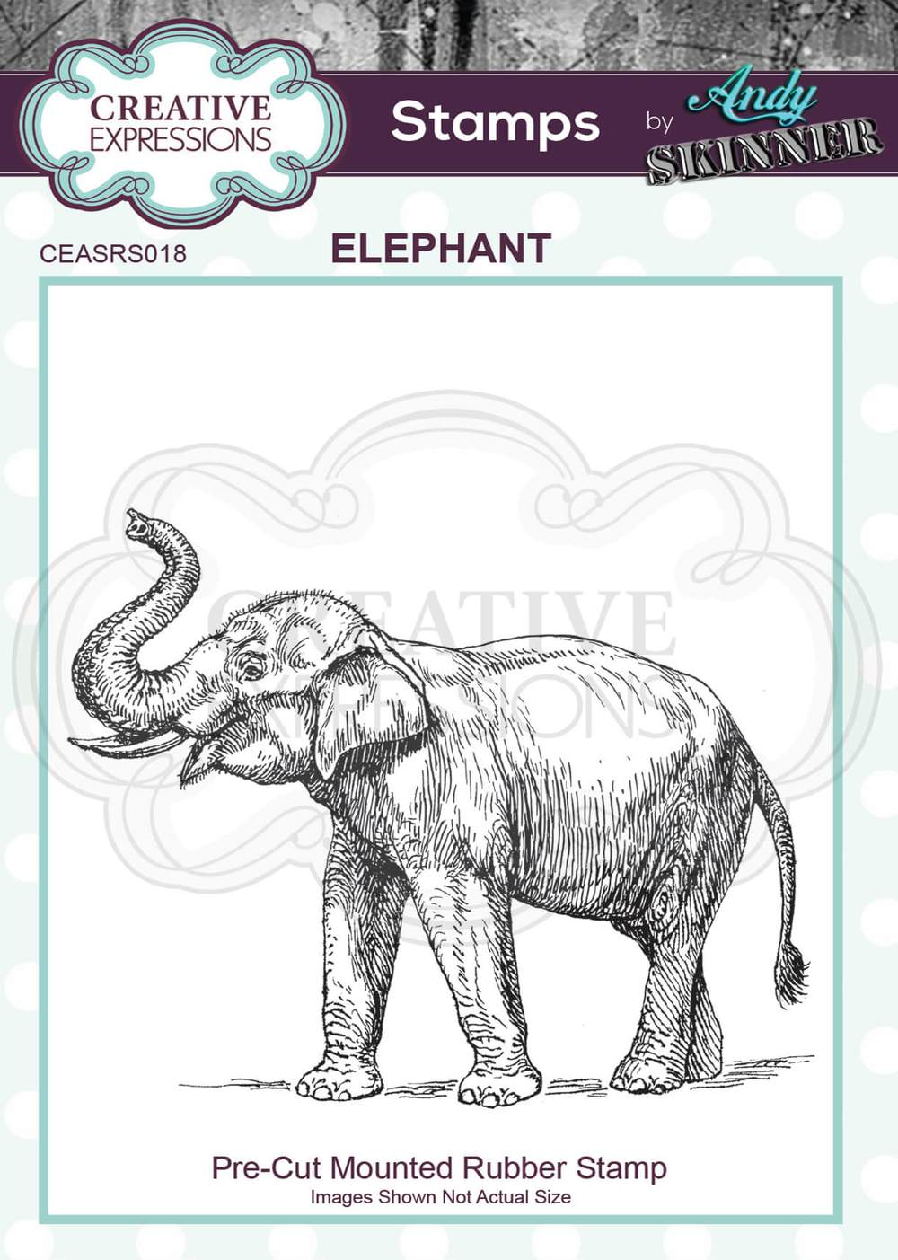 Creative Expressions - Rubber Cling Stamp - Andy Skinner - Elephant