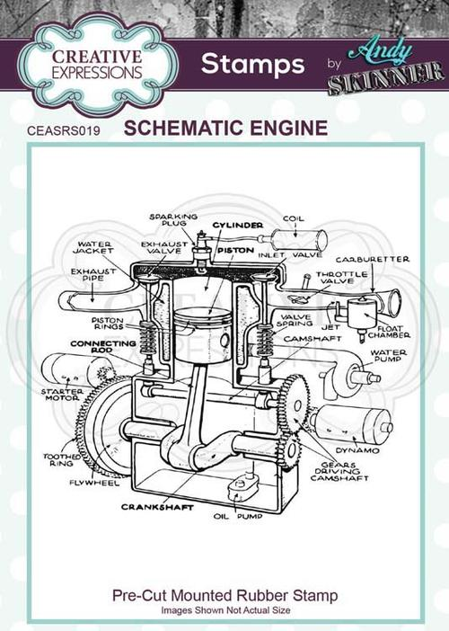 Creative Expressions - Rubber Cling Stamp - Andy Skinner - Schematic Engine