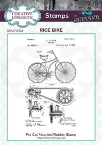 Creative Expressions - Rubber Cling Stamp - Andy Skinner - Rice Bike