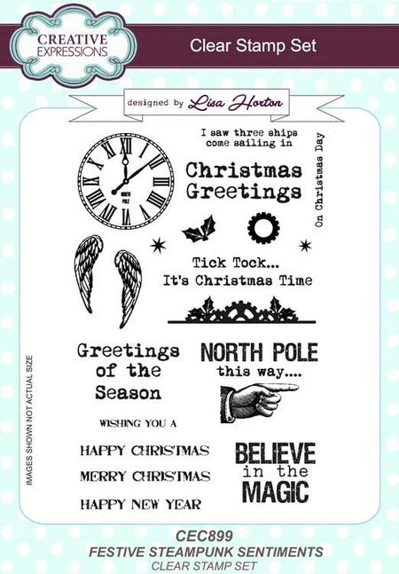 Creative Expressions - Festive Steampunk Sentiments - Clear Stamp Set