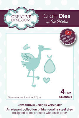Creative Expressions - Sue Wilson - New Arrival Collection - Stork and Baby Die Set