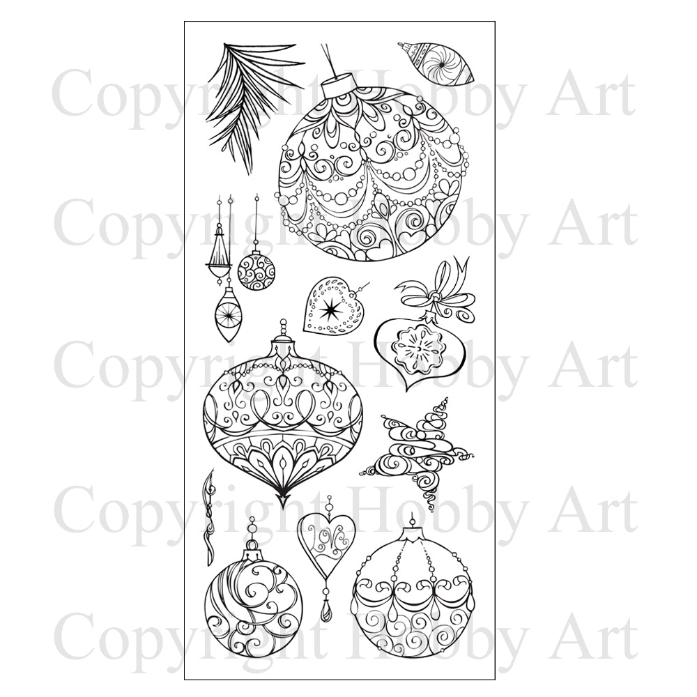 Hobby Art Stamps - Clear Polymer Stamp Set - Baubles