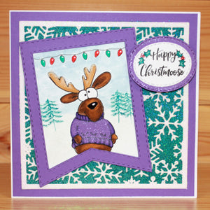 Hobby Art Stamps - Clear Polymer Stamp Set - Happy Christmoose