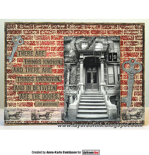 Darkroom Door - Brick Wall Background Stamp- Red Rubber Cling Stamps