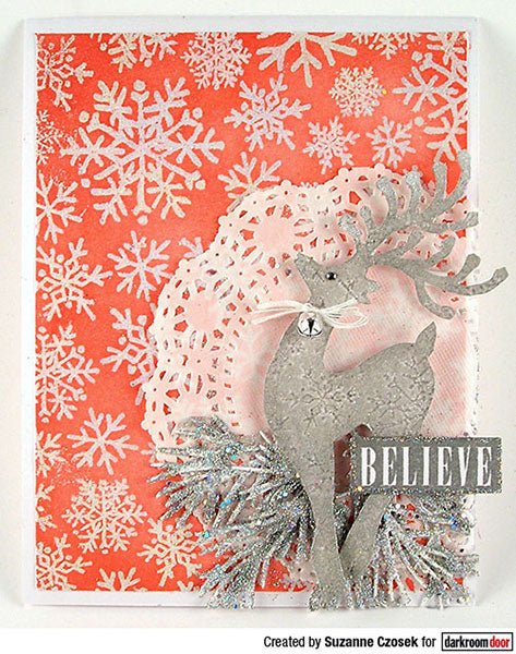Darkroom Door - Background Stamp - Snowflakes - Red Rubber Cling Stamps