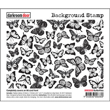Darkroom Door - Background Stamp - Butterflies - Red Rubber Cling Stamps