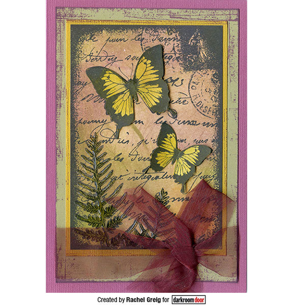Darkroom Door - Collage Stamp - Butterfly Garden - Red Rubber Cling Stamps