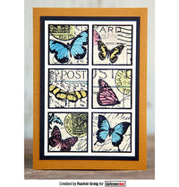 Darkroom Door - Collage Stamp - Butterfly Post - Red Rubber Cling Stamps