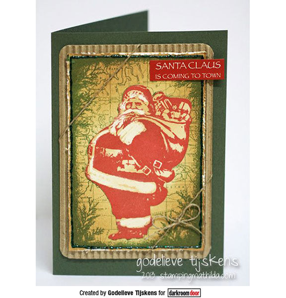 Darkroom Door - Collage Stamp - Jolly Santa - Red Rubber Cling Stamps