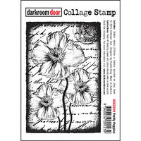 Darkroom Door - Collage Stamp - Pretty Poppies - Red Rubber Cling Stamps