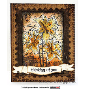Darkroom Door - Collage Stamp - Dear Daffodils - Red Rubber Cling Stamps