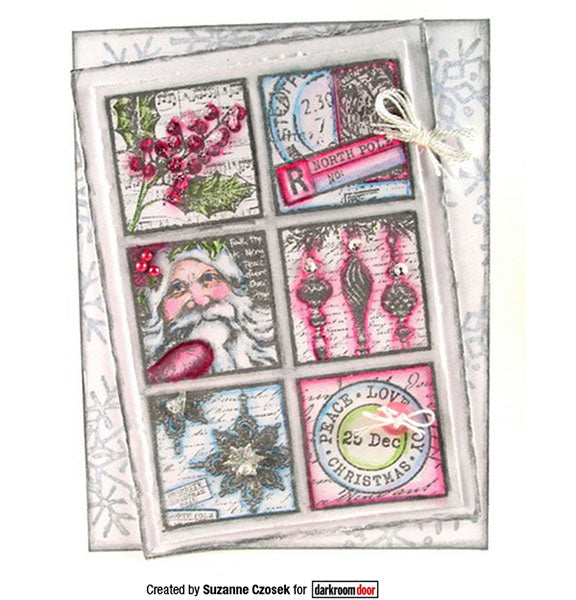 Darkroom Door - Collage Stamp - Christmas Post - Red Rubber Cling Stamps