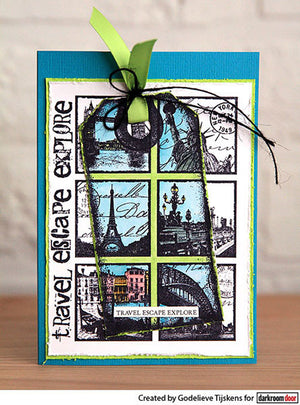 Darkroom Door - Travel Squares - Red Rubber Cling Stamps