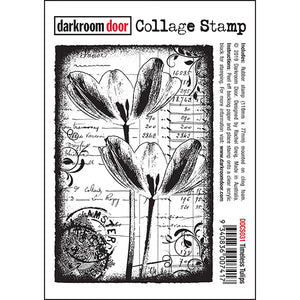 Darkroom Door - Collage Stamp - Timeless Tulips - Red Rubber Cling Stamps