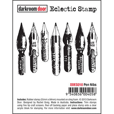 Darkroom Door - Pen Nibs - Red Rubber Cling Stamp