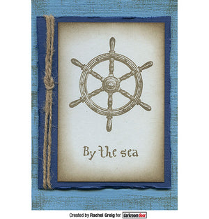 Darkroom Door - Eclectic Stamp - Boat Helm - Red Rubber Cling Stamp